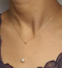 Collana ORO 14K catena di Acqua dolce Perla con oro 18 Carati Orecchini Perla