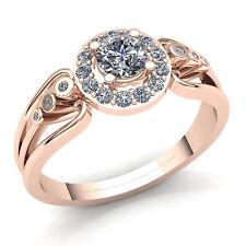 Natural 2carat Round Cut Diamond Ladies Halo Solitaire Engagement Ring 10K Gold