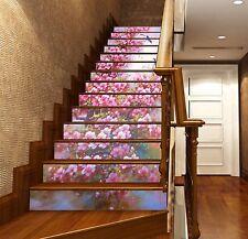 3D Peach Blossom 77Stair Risers Decoration Photo Mural Vinyl Decal Wallpaper AU