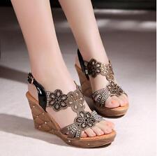 Women's Glitter Flower Platform Wedge Heel Open Toe Summer Roma Sandal Shoes J11