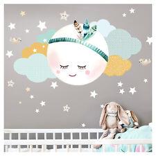 Wandtattoo Kinderzimmer Junge Wandaufkleber Mond Sterne Wandsticker Baby DL262