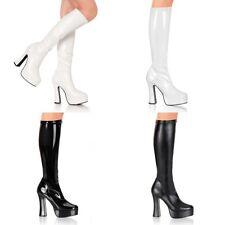 "PLEASER Pink Label Electra-2000Z Black White Knee Boots 5"" Heels Women's 5-15"