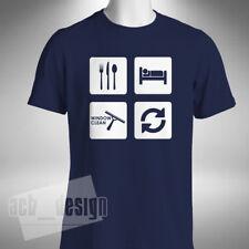 Comer Dormir Ventana Limpio repetir para Hombres Camiseta Graciosa escalera Work Wear Gamuza Cubo