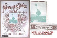 """RARE OLD UNUSED HAWAIIAN SHEET MUSIC """"A SONG TO HAWAII"""" WALL NICHOLS 1890s"""
