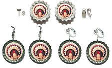THANKSGIVING TURKEY BOTTLE CAP PIERCED or CLIP ON EARRINGS - 4 CHOICES