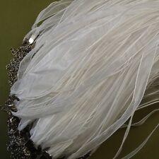 """Organza Silk Ribbon Necklace White 18""""-10pcs."""
