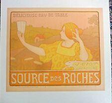 PAUL BERTHON - ORIGINAL VINTAGE POSTER -  SOURCE DES ROCHES -  CIRCA 1900
