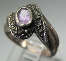 Vintage Antique Estate~Amethyst & Marcasite 925 Sterling Silver Ring Size 6