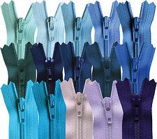YKK Closed End Nylon Zips Blue, Navy, Royal, Purple,Turqoise, 4-22 Inch, 10-56cm