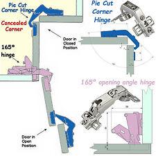 Pie Cut Corner Hinges Set Kitchen Concealed corner Cabinet Bi Fold Doors/Lids