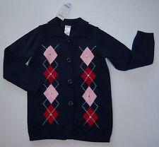 NWT Gymboree Homecoming Kitty S 5-6 Rhinestone Argyle Duster Cardigan Sweater
