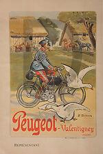 PLAQUE ALU REPRODUISANT UNE AFFICHE PEUGEOT VALENTIGNEY MOTO CYCLE