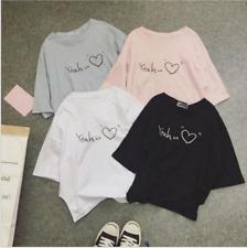 Fashion Girls Women Summer Loose Short Sleeve T-shirt Student Korean Blouses