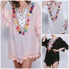 New Ladies  Italian Tunic Plain Multi  Pom Pom Lace Dress Women Top Shirt Kaftan