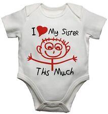 Io Amo mia sorella di questa nuova molto divertente personalizzata Baby Gilet BODYSUITS Ragazzi Ragazze