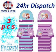 OFFICIAL Disney FROZEN Bambino Bambini Ragazza 3 pz SET Cappello Inverno Sciarpa
