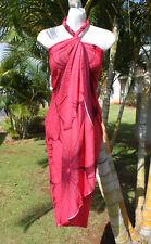 Hawaii Pareo Sarong Hawaiian Wrap Cruise Beach Dress ~ CORAL RED GIANT HIBISCUS