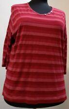 Shirt-Damen HEGLER Moden, V-Ausschnitt, Zierknöpfe, geringelt, Mischgewebe
