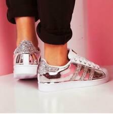Adidas Superstar personalizzate con tessuto specchiato strisce glitter occhielli