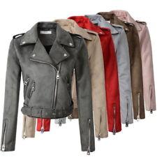 2018 Women Suede Faux Leather Jackets Lady Motorcycle Coat Biker Outerwear