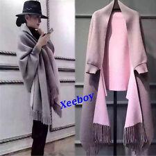 Hot Fashion Women's Cape Shawl Long Sleeve Wool Blend Cardigan Coat Tassel cloak