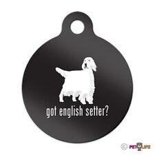 Got English Setter Engraved Keychain Round Tag w/tab v2 llewellyn Many Colors