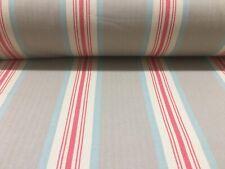 Brook Herringbone Woven Stripe Beige Grey /Coral Pink Curtain/Upholstery Fabric