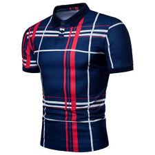 Fashion Men's Striped Casual T-Shirts Slim Fit Short Sleeve Shirt Top
