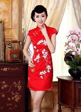 Jolie Mini Robe Chinoise Qi-Pao Rouge en Satin BrodéTailles au choix