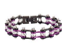Women's Ladies Motorcycle Stainless Steel Crystal Purple Bike Chain Bracelet