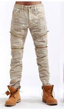 Mens Biker Zipper Jeans By Smoke Rise Slim Fit