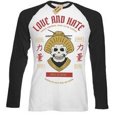 Geisha Skull T-Shirt love hate made japan Mens Baseball T-Shirt