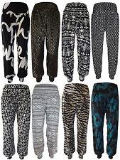 Neuf Pour Dames Filles Imprimé Pantalon Sarouel Revers Bas Ali Baba Womens 8-16