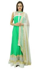 Atasi Womens Floor Length Dress Greem Salwaar Kameez Kurta Suit Set With Dupatta