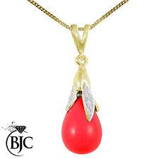 BJC 9kt Oro Giallo Rosso Sangue Corallo & Diamante Taglio Briolette