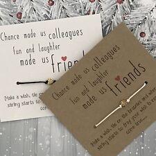 Wish Bracelet Work Friends Colleagues Secret Santa Charm Card Christmas Gift Y27