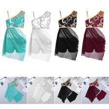 Girls Kids Lyrical Dress Costume Modern Ballroom Dancewear Leotard Shorts Outfit