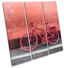 Red Retro Vintage Bike Picture TREBLE CANVAS WALL ART Print