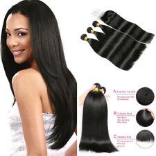 100% Human Hair Black color 1B Straight 3 Bundles with Closure