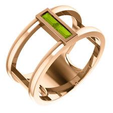 Genuine Peridot Baguette Negative Space Ring In 14K Rose Gold