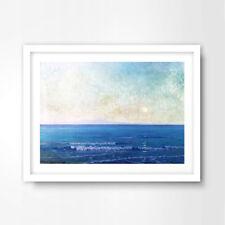 BLUE SEA OCEAN HORIZON PAINTING NAUTICAL ART PRINT Poster Decor Wall Artwork