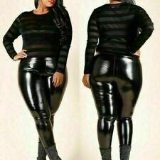 New Women Plus Size PVC Latex VINYL LOOK SHINY Leggings UK Size 16-24