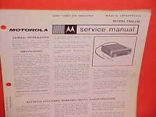 1965 MOTOROLA AUTO RADIO FM CONVERTER SERVICE SHOP REPAIR MANUAL BROCHURE FM65M