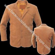 MENS 3 BUTTON BROWN LEATHER DRESS BLAZER COAT SUIT