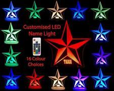 STAR SHAPE PERSONALISED NAME LED 16 COLOUR NIGHT LIGHT LAMP CHILDREN'S ROOM 240v