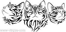 Sticker 3 Chats Tribal 15x30cm à 30x60cm, Tailles et Coloris Divers (CHAT010)