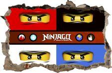 WANDAUFKLEBER Loch in der Wand 3D LEGO NINJAGO Wand Aufkleber Wandtattoo 88