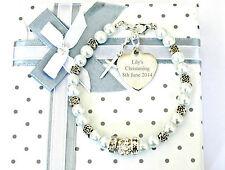 Christening Holy Communion Flower Bracelet  Engraved Heart Charm Baptism Gift