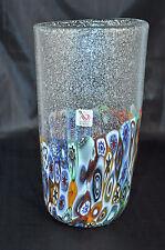 MURANO Art Glass Vase Clear Murrine Silver Dust Bubbles Gambaro & Poggi New