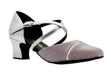 da donna color argento PU rosa lurex scarpe ballo 5.1cm tacco linea parte sopra
